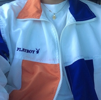 jacket playboy orange blue jacket zipper jacket playboy bunny cute outfits