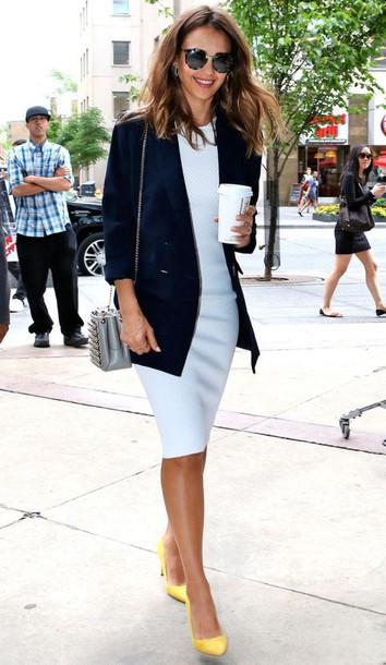 dress Celebrity work outfits office outfits work outfits blue dress baby blue light blue midi dress blazer blue blazer jessica alba celebrity style celebrity pumps yellow pumps high heel pumps pointed toe pumps bag grey bag shoulder bag sunglasses white dress celebstyle for less bodycon dress bodycon midi cute dress girly dress summer dress summer outfits classy dress elegant dress cocktail dress date outfit