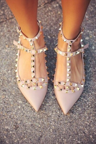 shoes sleek studded girly tumblr flats pointed shoes studds studded flats pointed flats studd shoes