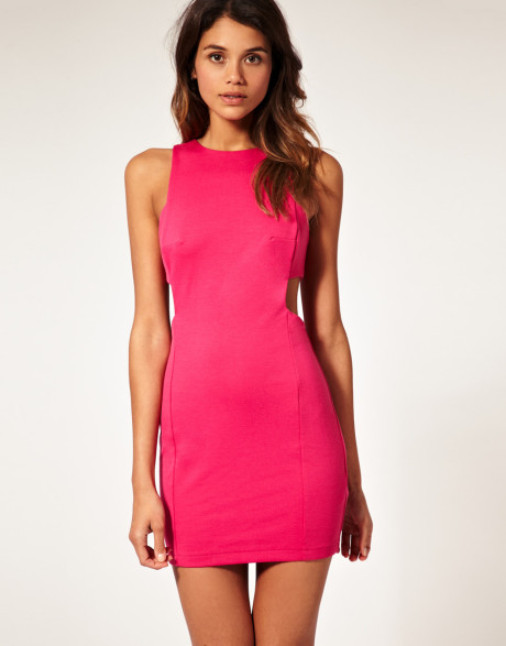 Asos collection asos shift dress with cut out sides in pink (fuchsia)