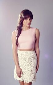 skirt,top,lace,lace skirt,crop tops,lea michele