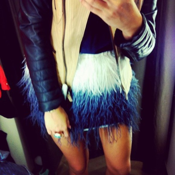 feather black skirt feather skirt blue white faded short short skirt leather jacket beige legs
