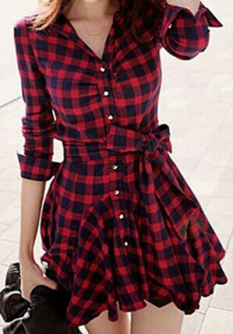 dress plaid dress tartan dress checkered plaid fashion style buttons red black girly kawaii korean fashion asian fashion back to school