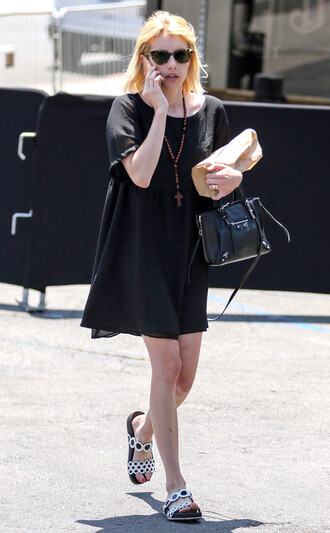 dress black dress emma roberts sandals sunglasses