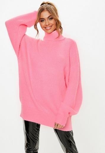 Missguided - Pink Premium Roll Neck Boyfriend Jumper