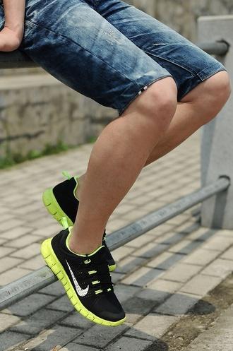 shoes nike neon green soles nike shoes nike free run nike trainers trainers