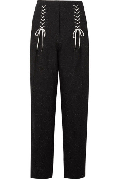 pants lace cotton black