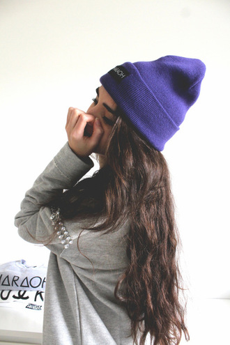 sweater grey hat tumblr cotton