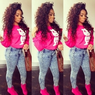 jeans acid wash pink crewneck high waisted jeans neon