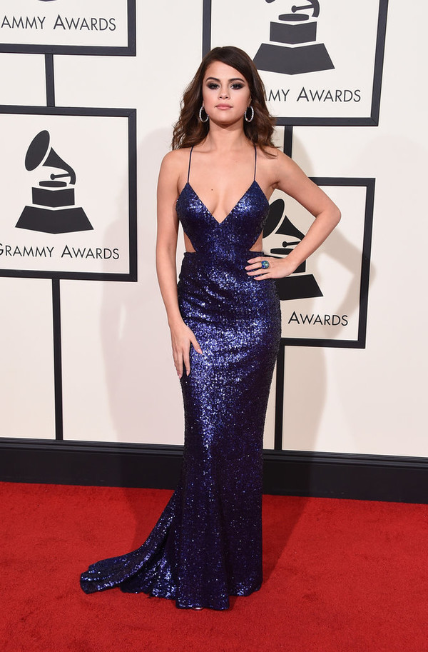 Selena Gomez Navy Blue Cut out Sequin Grammys 2016 Red