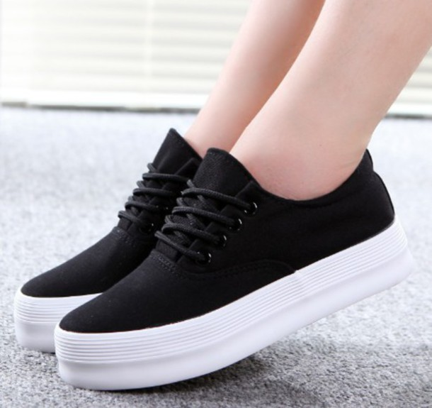 shoes kozy black lace up platform shoes trendy