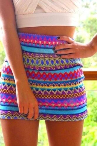 skirt aztec short skirt mini skirt aztec print skirt tribal aztec mini skirt