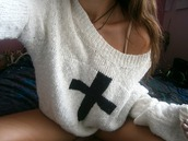 sweater,pull-over,cross,hipster,tumblr,cute,girl,black and white,black,white,beautiful,dress
