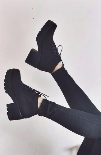 shoes black laced heels grunge tumblr