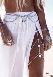 belt,boho belt,chain belt,silver belt,pendant belt,gypsy belt