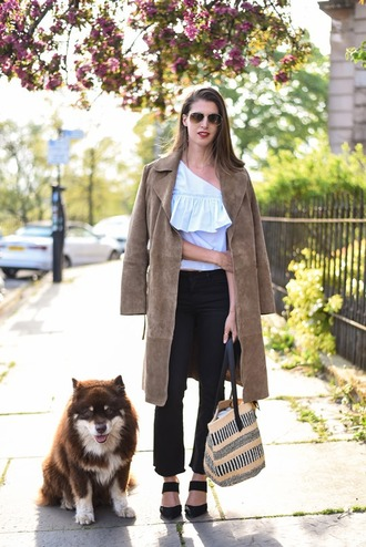 thank fifi blogger top coat shoes bag suede coat long coat one shoulder blue top cropped pants aviator sunglasses