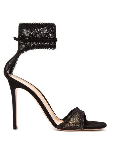 Gianvito Rossi - Halle Ankle Strap Lace Sandals - Womens - Black