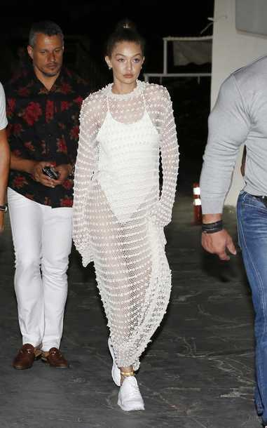 dress gigi hadid gigi hadid see through summer outfits shoes sneakers one piece white sneakers white one piece gown white dress bodysuit white bodysuit