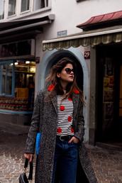 the fashion fraction,blogger,coat,sweater,bag,shoes,socks,sunglasses,winter outfits,striped top,black bag,shoulder bag,grey coat,topshop,tumblr,top,polka dots,stripes,denim,jeans,blue jeans,belt,cat eye