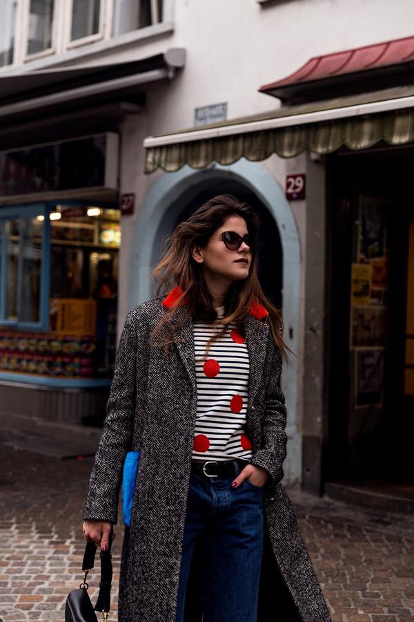 the fashion fraction blogger coat sweater bag shoes socks sunglasses winter outfits striped top black bag shoulder bag grey coat topshop tumblr top polka dots stripes denim jeans blue jeans belt cat eye
