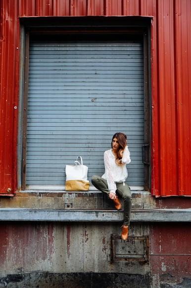 blouse khaki blogger bag the boho flow