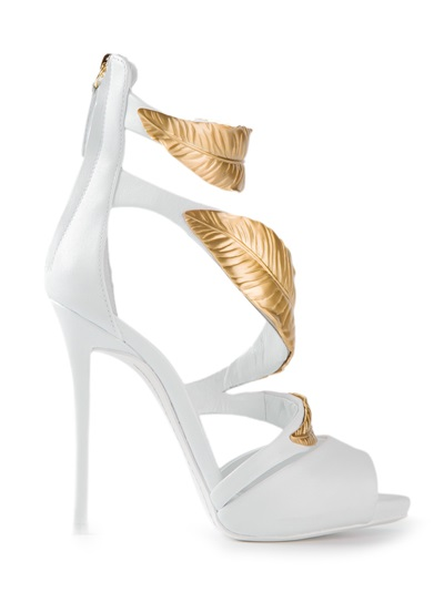 Giuseppe Zanotti Design Leaf Embellished Sandals - Biondini Paris - Farfetch.com