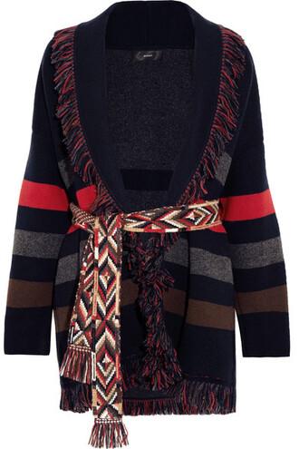 cardigan jacquard navy sweater