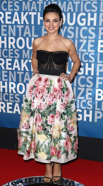 dress mila kunis bustier bustier dress prom dress gown red carpet dress midi dress floral dress floral
