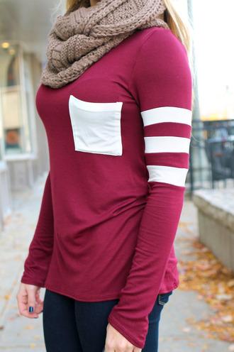 pocket stripes top burgundy