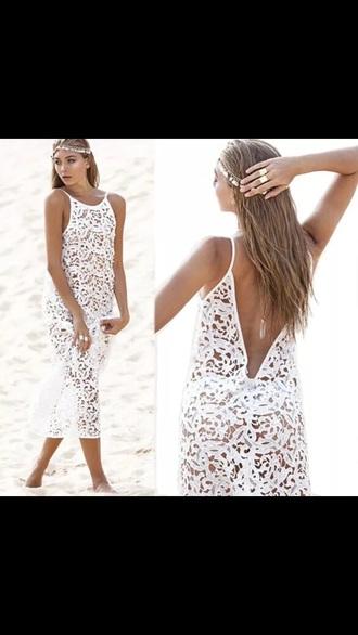 dress crochet cover up summer white dress beach dress