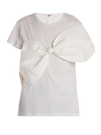 t-shirt shirt bow cotton cream top