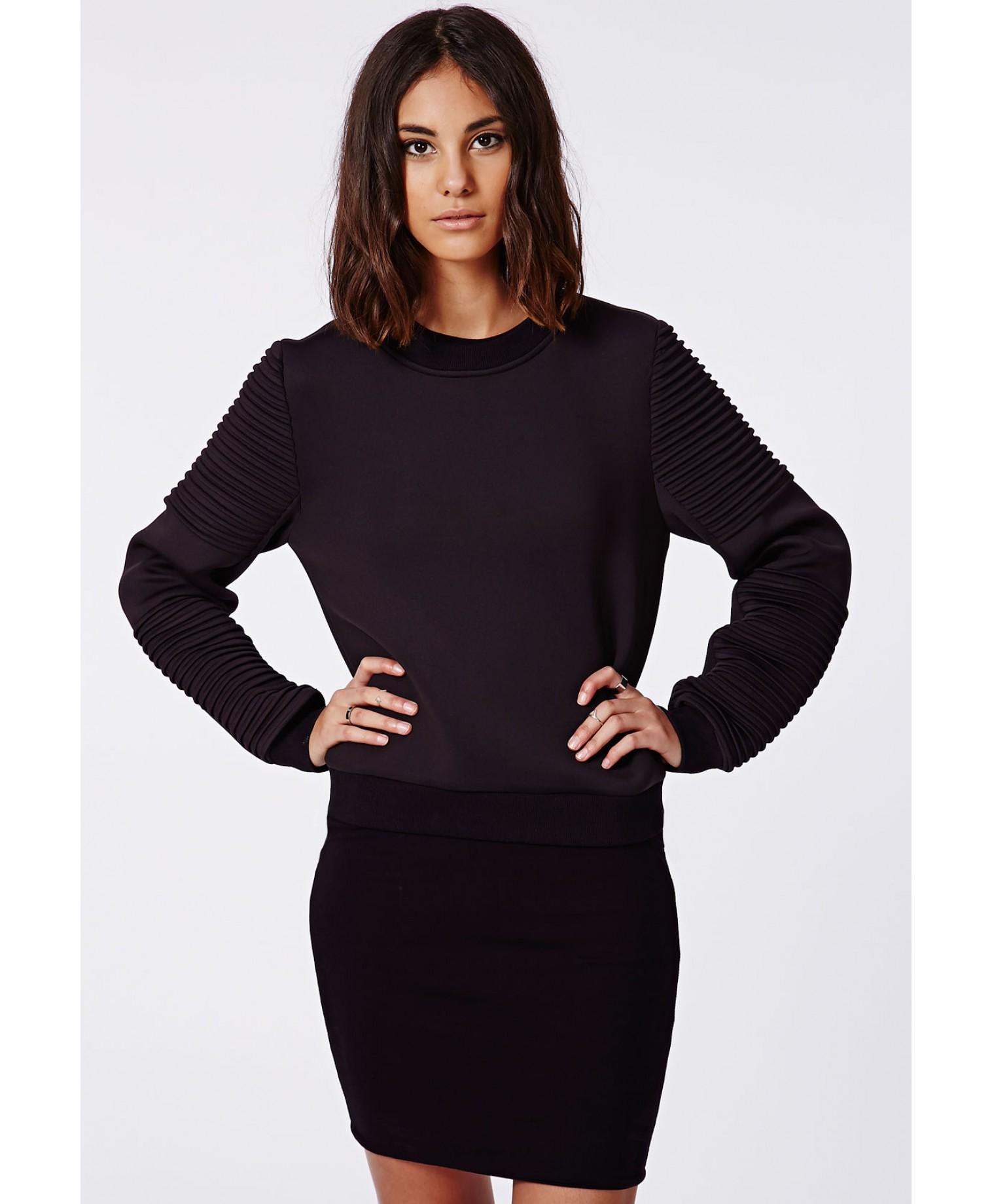 Missguided - Nicole X Biker Sleeve Neoprene Sweatshirt Black