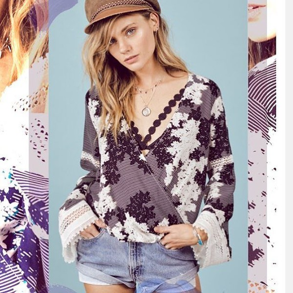 blouse floral boho lace crochet sexy summer stripes lovestitch bell sleeves