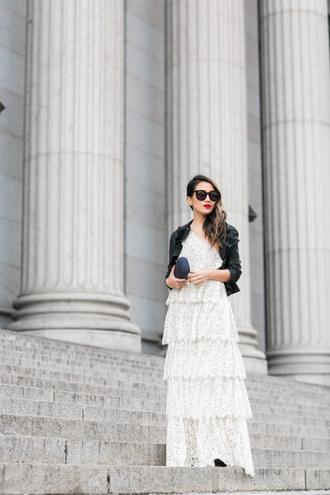 wendy's lookbook blogger jacket dress shoes bag sunglasses black jacket maxi dress clutch