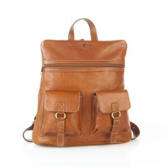 Amazon.com: Leather Backpack with Top Zipper and Two Front Pockets Color: Brown: Clothing