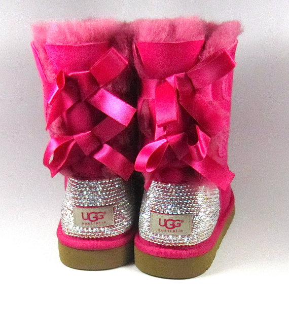 ... ugg bailey bow hot pink sheepskin boots with swarovski crystal embellishment winter holiday 2013