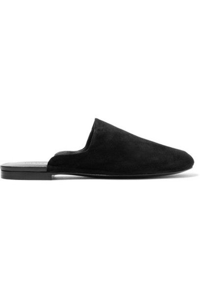 The Row - Grandpa Suede Slippers - Black