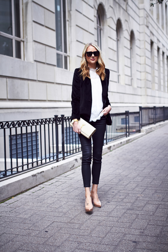 fashionjackson blogger jacket top pants shoes bag jewels sunglasses office outfits blazer ysl ysl bag blouse black leather pants leather pants black blazer black sunglasses thanksgiving outfit