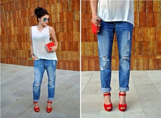 bag shoes jeans orange heels ripped jeans