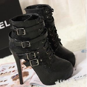 Womens Punk High Heels Platform Belt Buckle Lace Up Ankle Boots