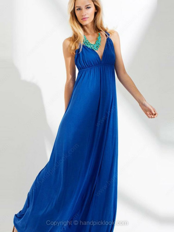 beach dress chiffon dress blue skirt blue gown royal blue dress handpicklook.com
