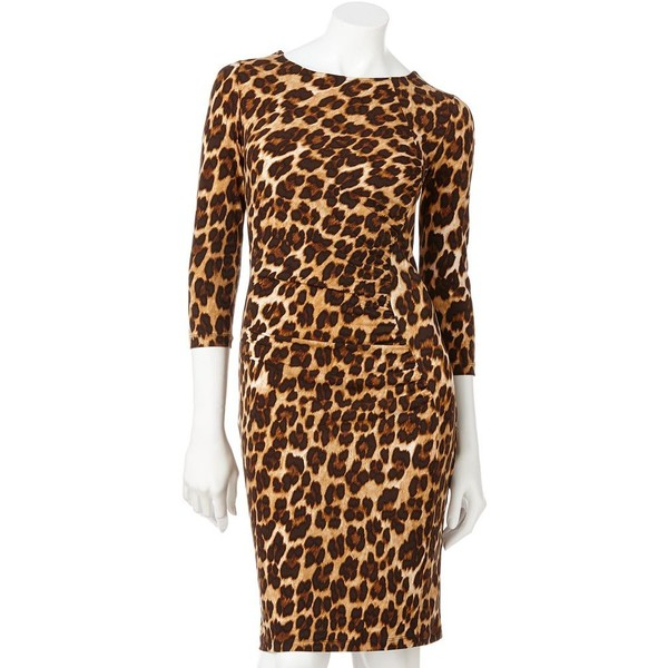 Jennifer Lopez Leopard Ruched Sheath Dress - Polyvore