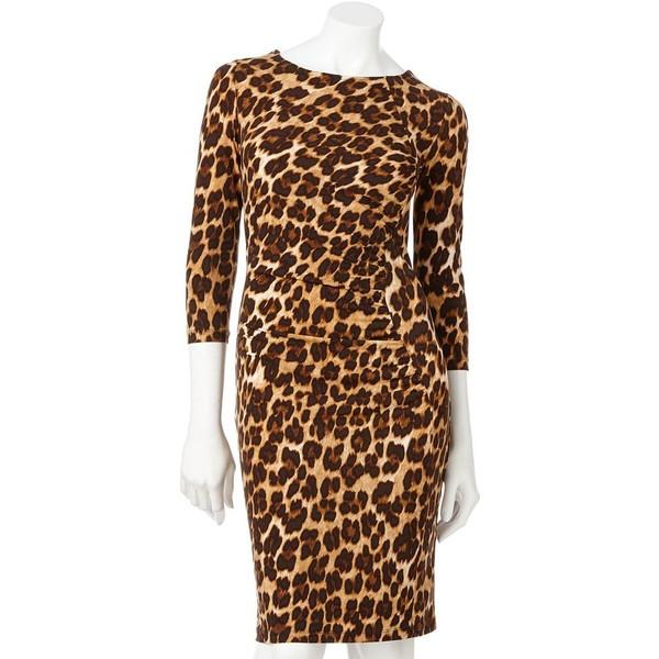 Jennifer Lopez Leopard Ruched Sheath Dress - Polyvore