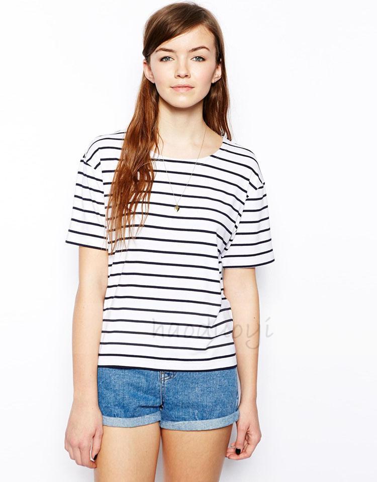 2014 HAODUOYI estilo fresco listra preto e branco em torno do pescoço mangas curtas t shirt para o transporte por atacado e livre em Camisetas de Roupas & acessórios no AliExpress.com | Alibaba Group