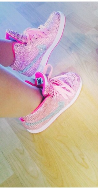 shoes pink rhinestones nike nikedunk