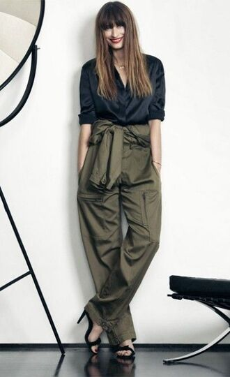pants caroline de maigret model fashionista green pants high waisted pants shirt blue shirt silky shirt office outfits spring outfits sandals black sandals high heel sandals