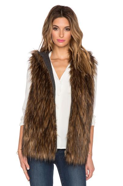 6 Shore Road vest fur vest faux fur vest fur faux fur brown