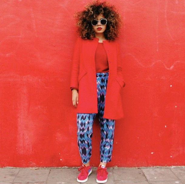 pants natural hair red jacket harem pants printed pants red tank red sneakers blue pants blue pattern sunglasses shoes coat