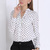 Polka Dots V-neck Blouse with Pockets Front [FDBI00549] - PersunMall.com