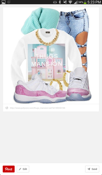 t-shirt urban streetwear swag boyish pink white jeans hat shoes